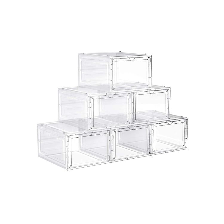 Set of 6 White Plastic Shoe Boxes
