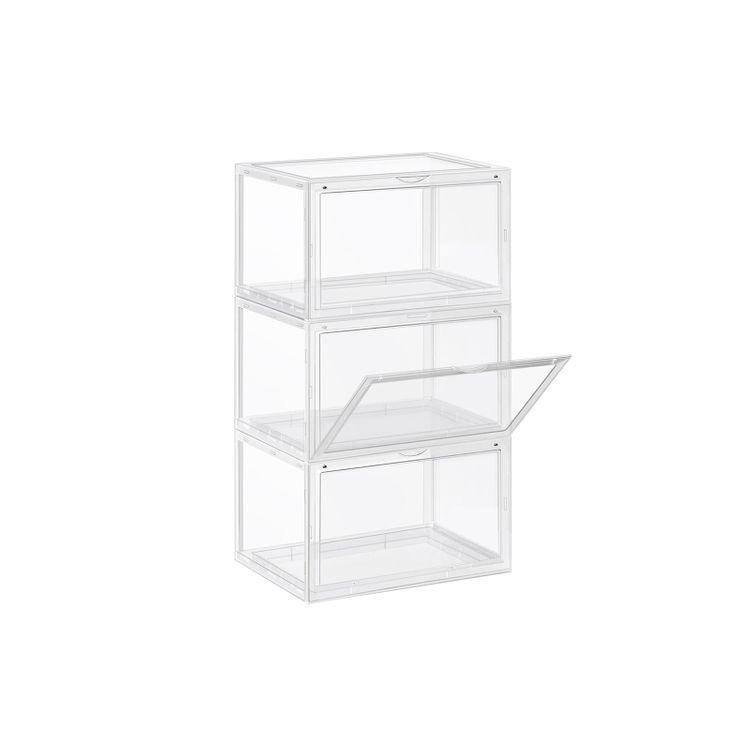 Pack of 3 Transparent Plastic Shoe Storage Boxes