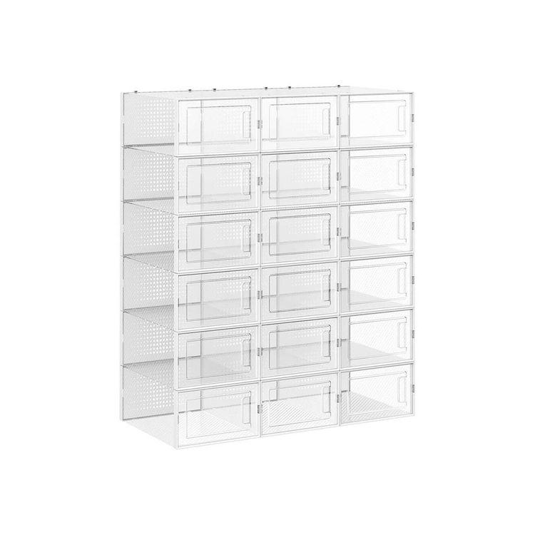 Set of 18 Plastic Shoe Boxes Storage Organizers