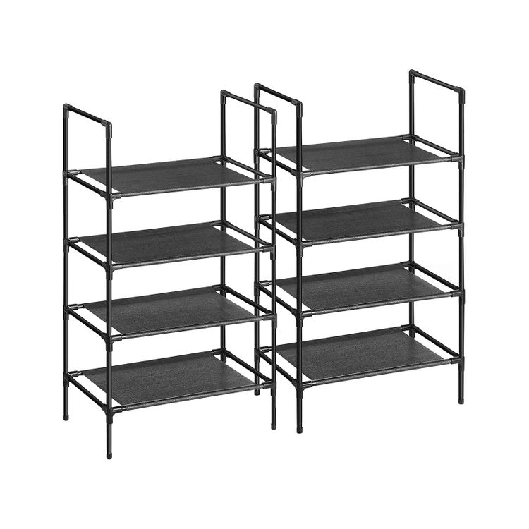 Set of 2 Black Shoe Rack with 4 Layers