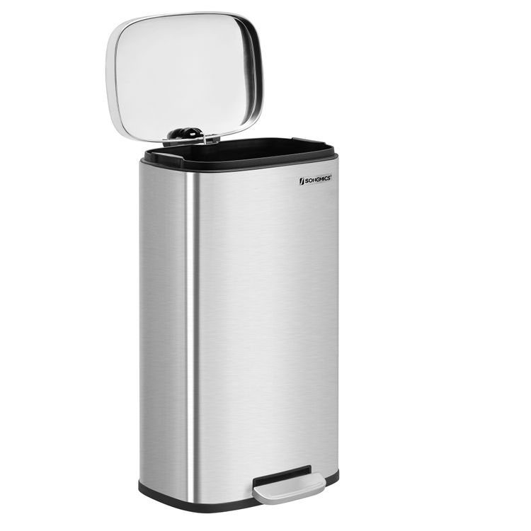 Silver Step-Open Trash Can with Plastic Inner Bucket