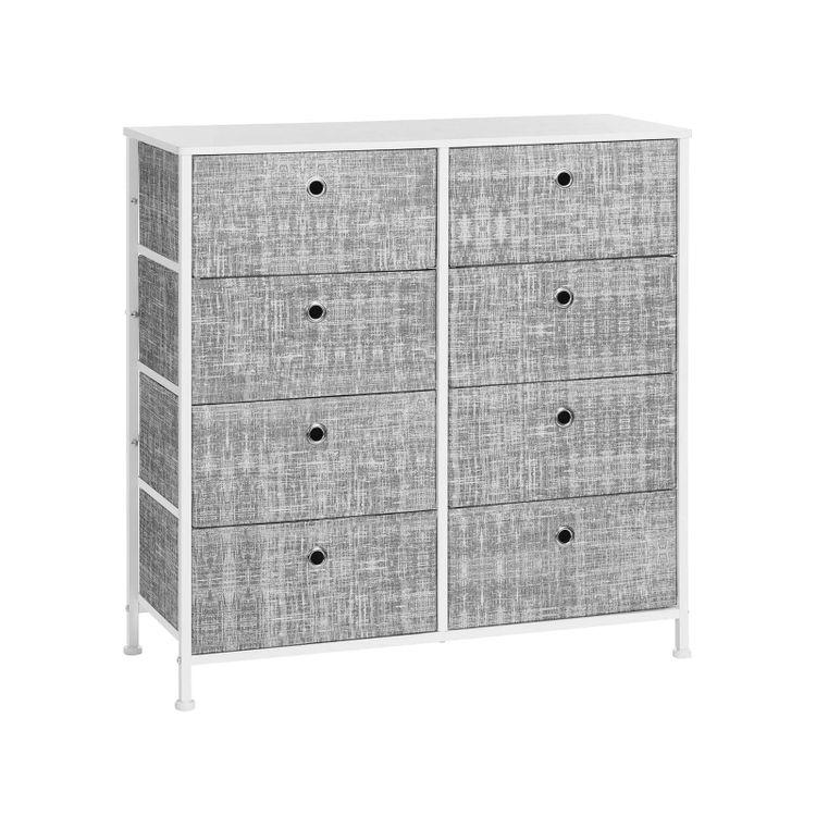 4-Tier Storage Dresser Mottled Gray and White