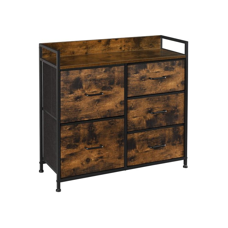 Brown & Black Drawer Dresser with 5 Fabric Drawers