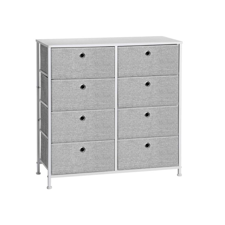 Gray & White 4-Tier Storage Dresser with Fabric Drawers