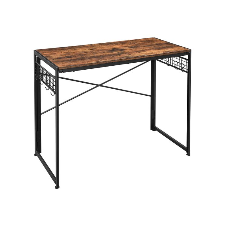 Industrial Brown Foldable Computer Desk with Hooks