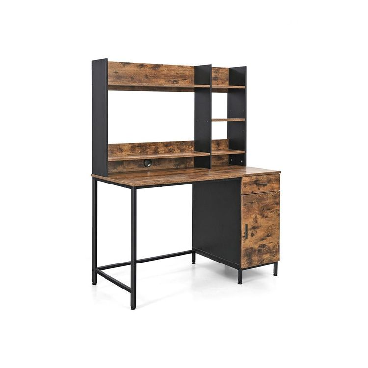 Industrial Computer Desk with Hutch Rustic Brown