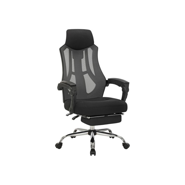 Black Adjustable Office Chair with Footrest