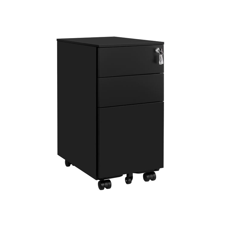 Black File Cabinet with 3 Drawers on Wheels