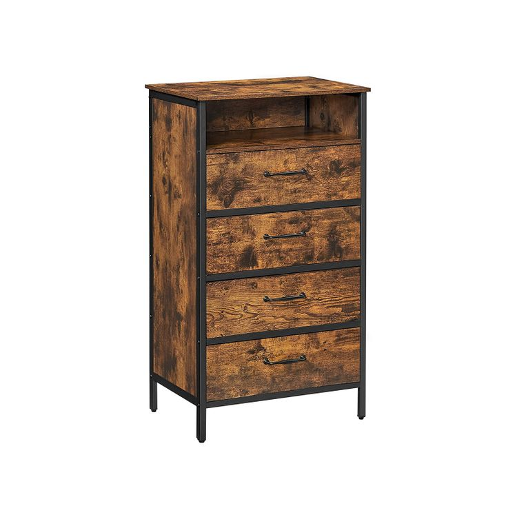 Industrial Brown 4-Drawer Small Dresser with Shelf