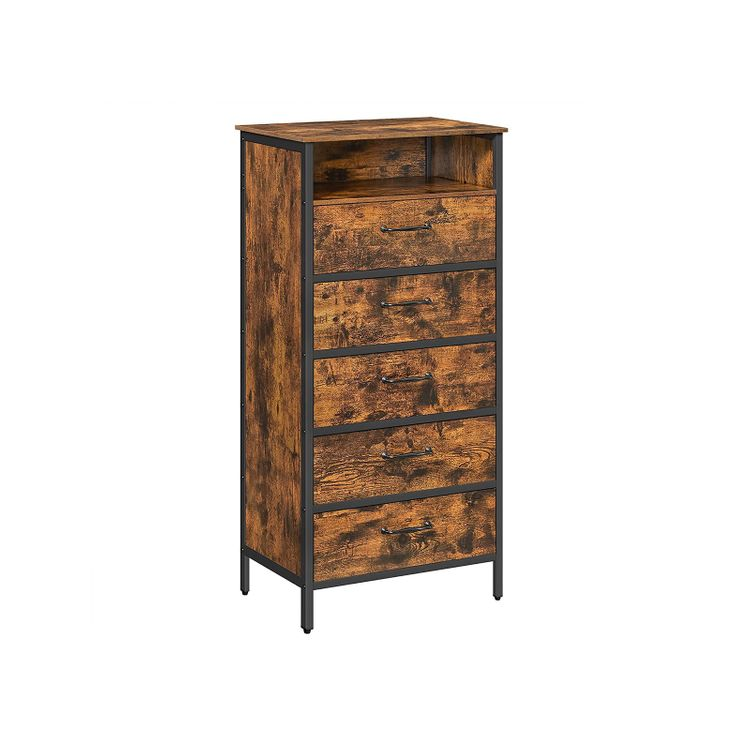 Rustic Brown Chest of Drawers with Shelf