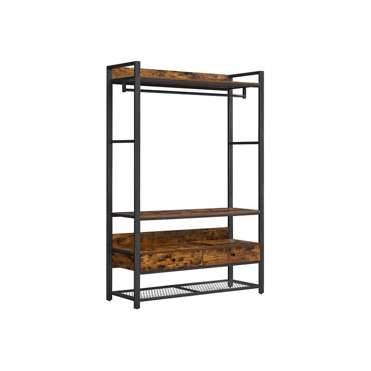 Industrial Brown Open Wardrobe with Drawers