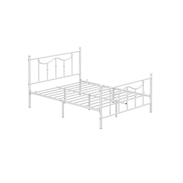 Queen Size Metal Bed Frame with Headboard White