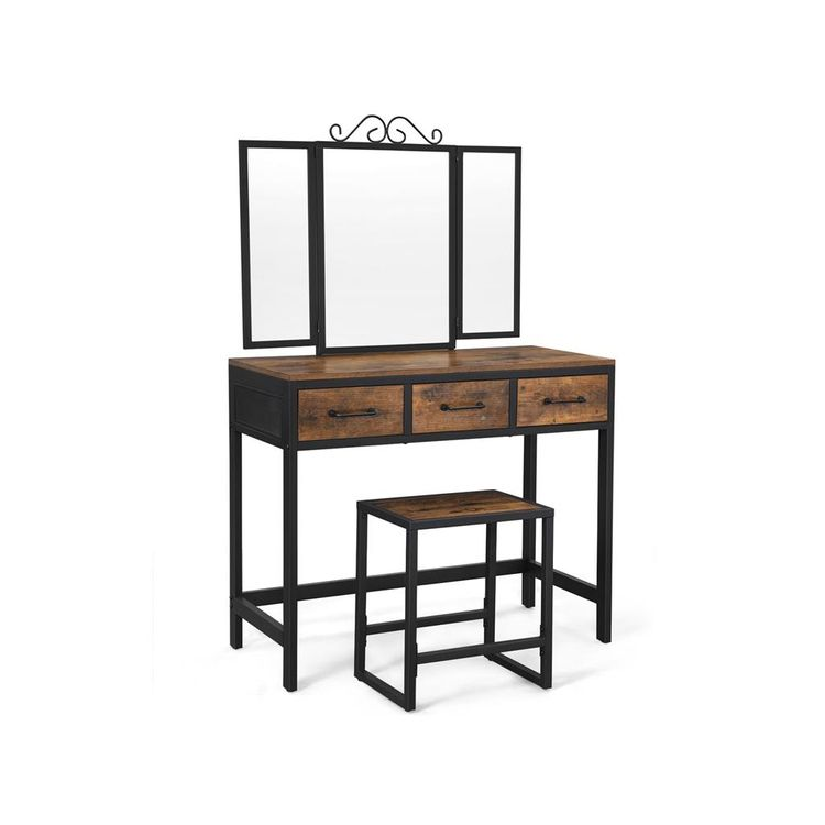 Industrial Makeup Table with Stool